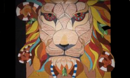 Painted Wall Mural of a Lion's Face