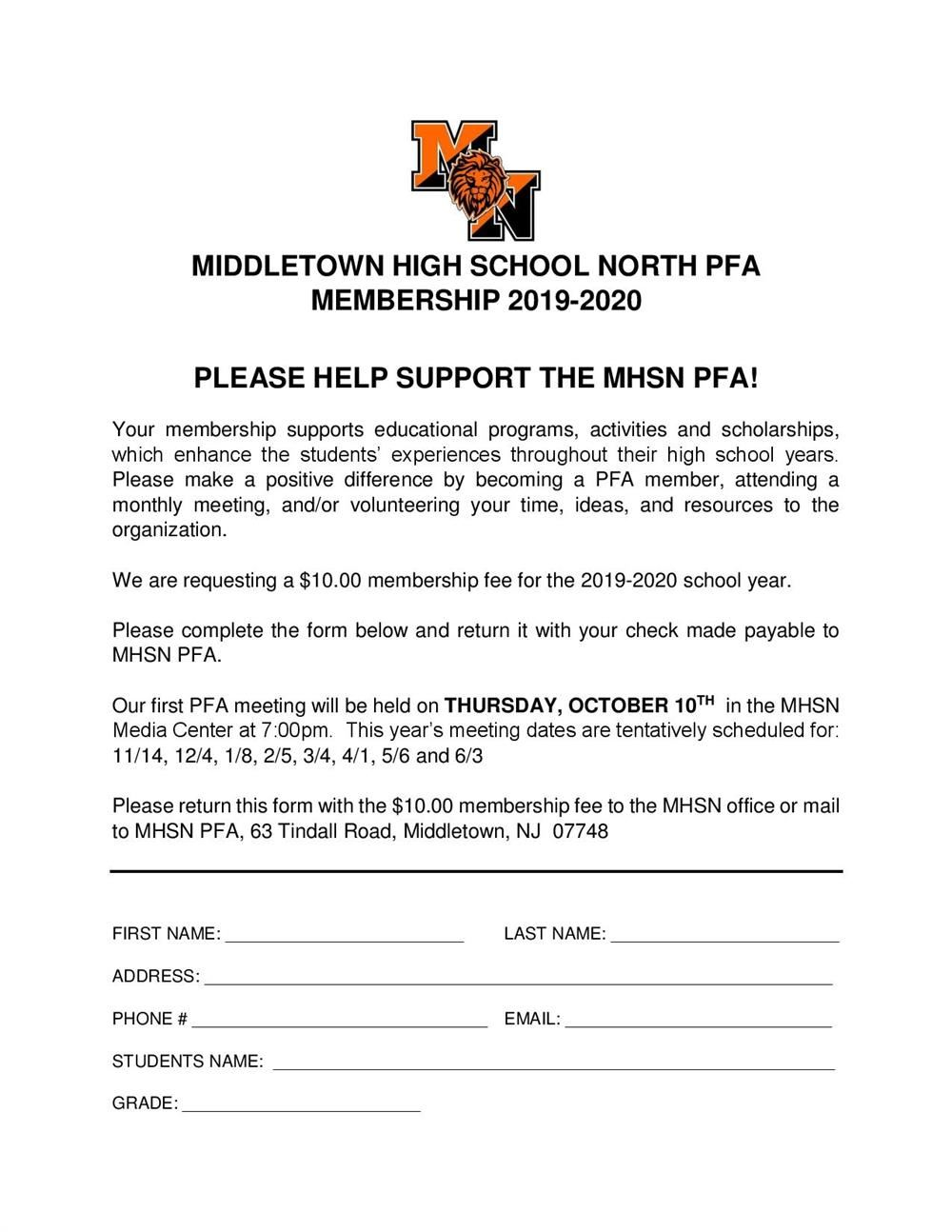 thumbnail image of MHS North PFA Membership Form