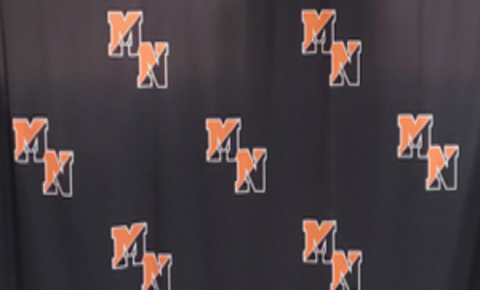 picture of a black drape with Middletown North Logos