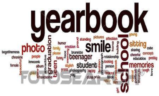 Word cloud of yearbook related words