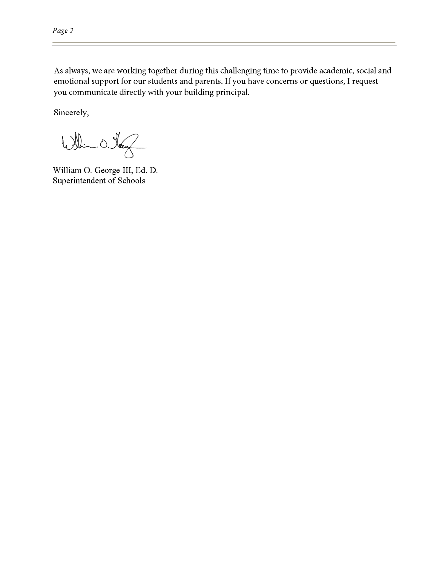 Dr. George's Clarification Letter (Page 2)