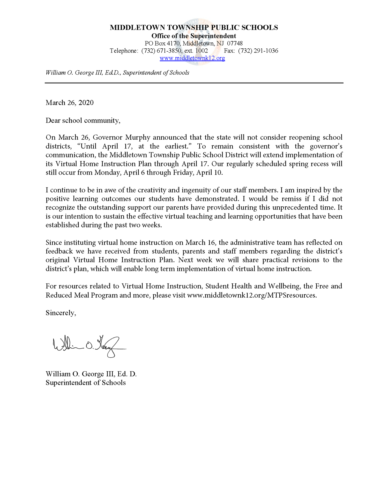 Community letter announcing extension of Virtual Home Instruction through April 17.