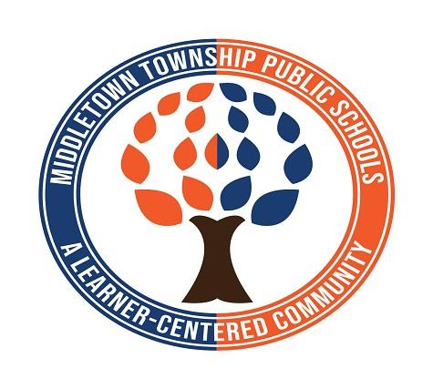 This image shows the Middletown Township Public Schools logo, an orange and navy circle surrounding a tree.