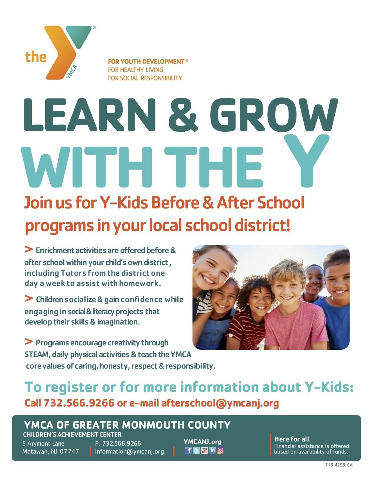 YMCA Y-Kids Program flier.
