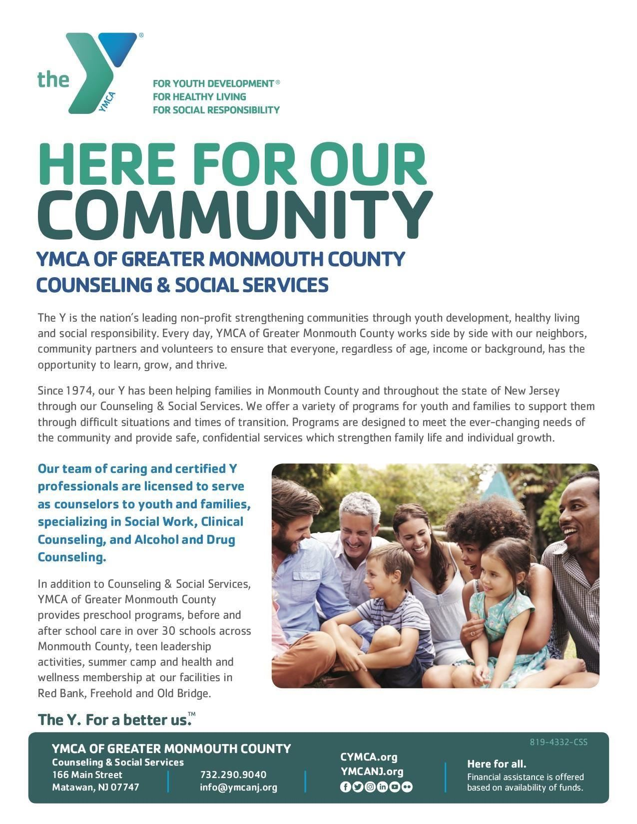 This is a YMCA document discussing available counseling and social services.