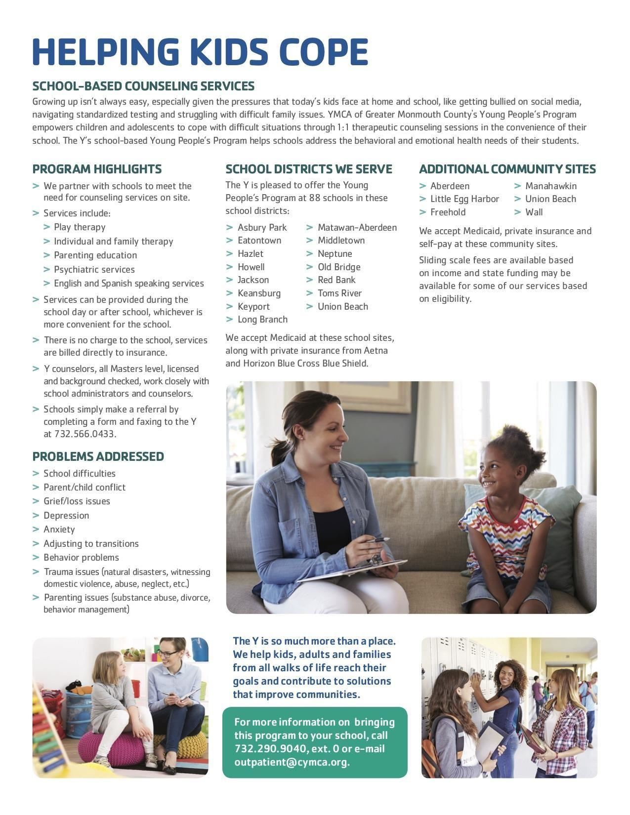 This is a YMCA document discussing available methods and program to help kids cope with various situations.